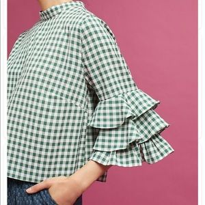 Anthropologie Green Plaid Shirt